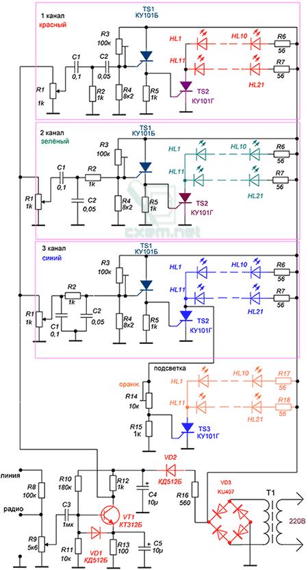 светодиода принципиальная схема