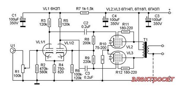 схеме лампы 6П14П, 6П18П,
